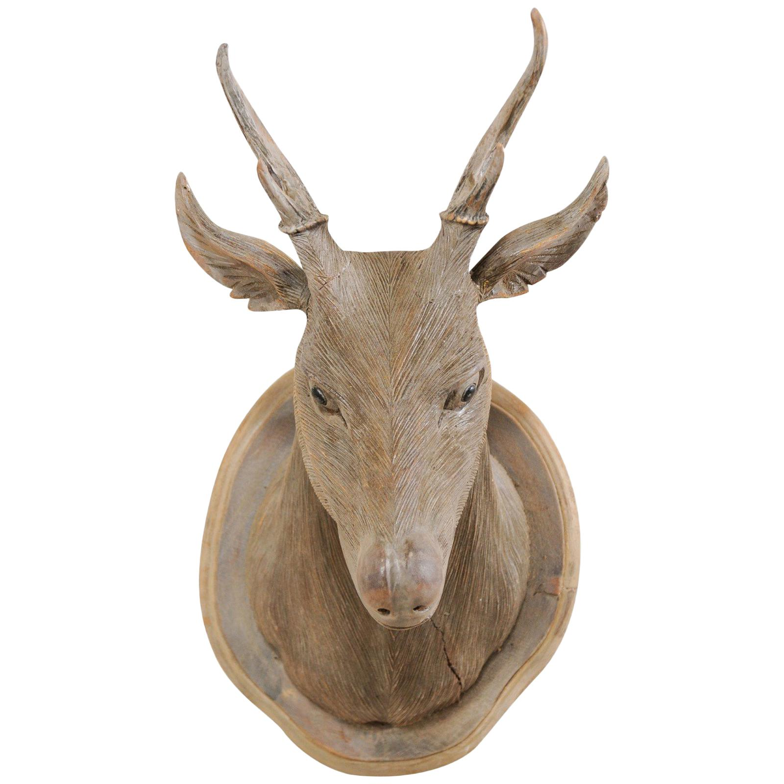 stunning Deer Head Wall Decor Part - 7: Masterfully Carved Faux-Taxidermy Deer Head Wall Decoration For Sale