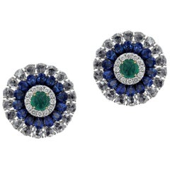 Masterly 18 Karat White Gold Diamond, Emerald and Sapphire, Ring and Earring Set