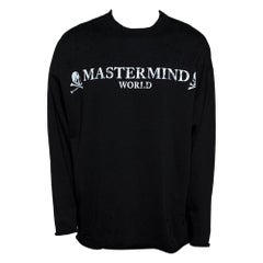 Mastermind World Black Logo Print Cotton Distressed Sweatshirt M