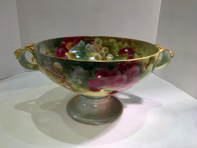 Masterpiece Antique Art Nouveau Rosenthal Hand Painted Porcelain Footed Bowl For Sale 4