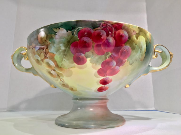 Hand-Painted Masterpiece Antique Art Nouveau Rosenthal Hand Painted Porcelain Footed Bowl For Sale