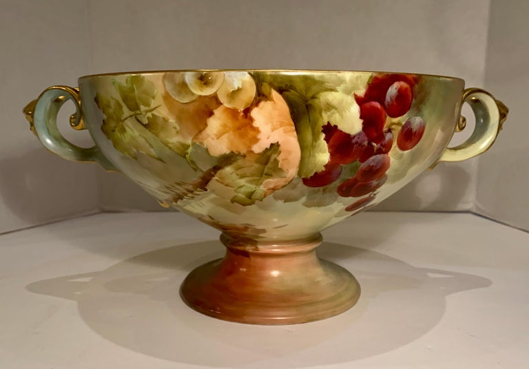 Masterpiece Antique Art Nouveau Rosenthal Hand Painted Porcelain Footed Bowl In Good Condition For Sale In Tustin, CA