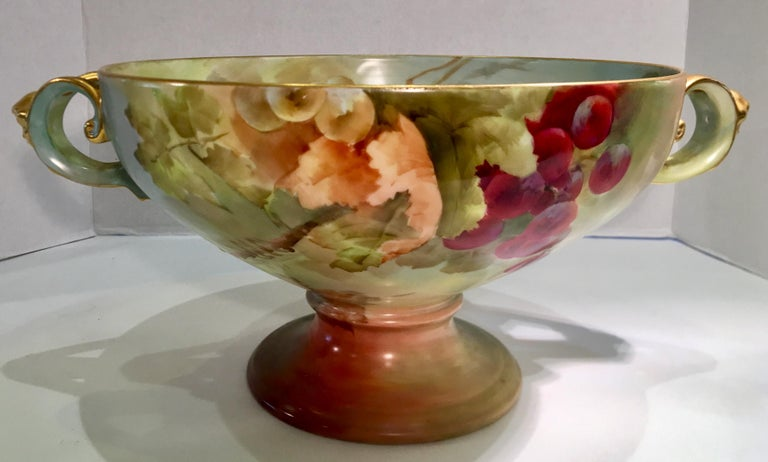 Masterpiece Antique Art Nouveau Rosenthal Hand Painted Porcelain Footed Bowl For Sale 2