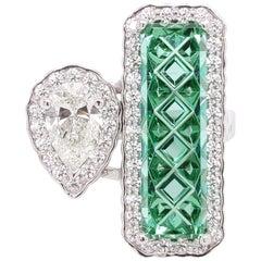 Masterpiece Mint Maine Tourmaline with Diamond in Platinum
