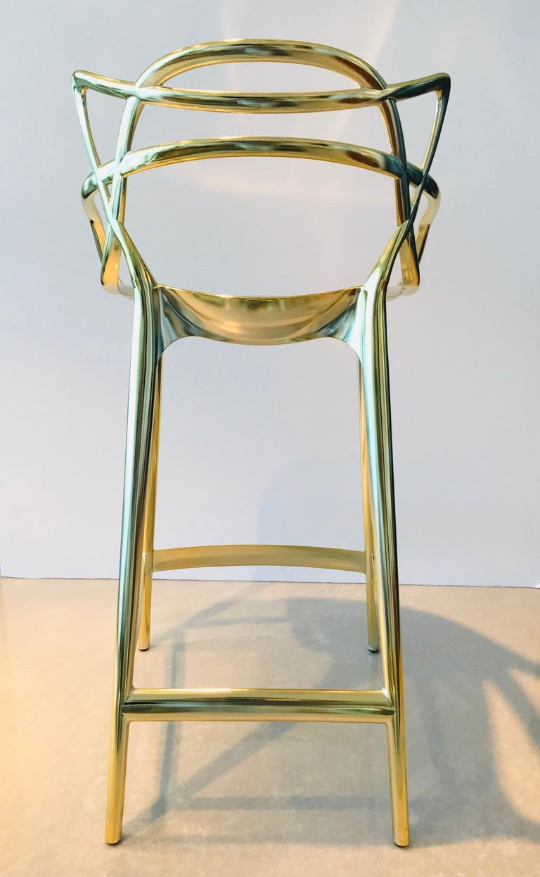 Masters Bar Stools In Metallic Gold by Kartell, Set of Three For Sale 3
