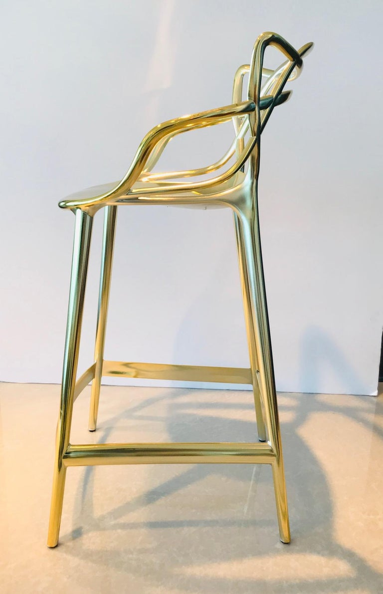 Masters Bar Stools In Metallic Gold by Kartell, Set of Three For Sale 4