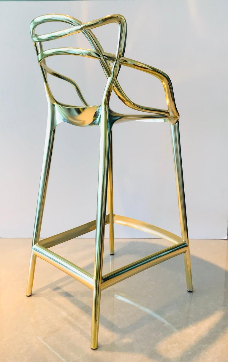 Masters Bar Stools In Metallic Gold by Kartell, Set of Three For Sale 5
