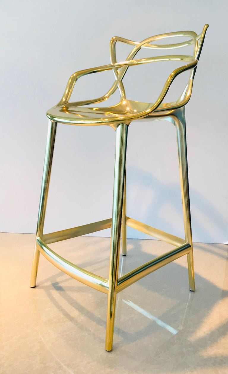 Masters Bar Stools In Metallic Gold by Kartell, Set of Three For Sale 6