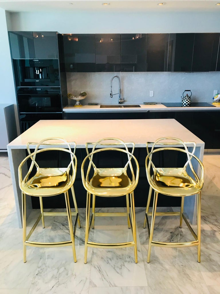 Modern Masters Bar Stools In Metallic Gold by Kartell, Set of Three For Sale