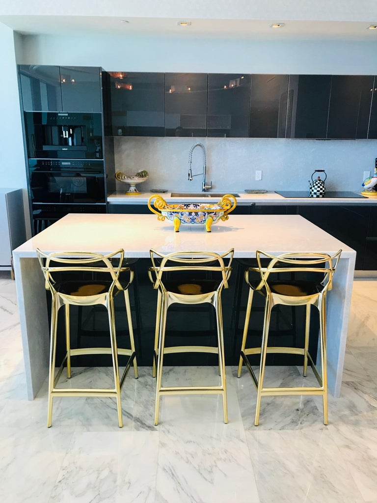 Italian Masters Bar Stools In Metallic Gold by Kartell, Set of Three For Sale
