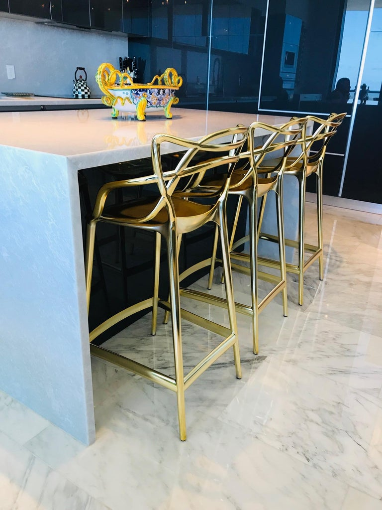 Masters Bar Stools In Metallic Gold by Kartell, Set of Three In Good Condition For Sale In Stamford, CT