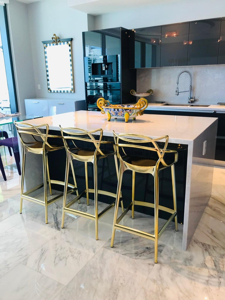 Contemporary Masters Bar Stools In Metallic Gold by Kartell, Set of Three For Sale