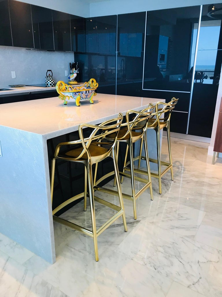 Enamel Masters Bar Stools In Metallic Gold by Kartell, Set of Three For Sale