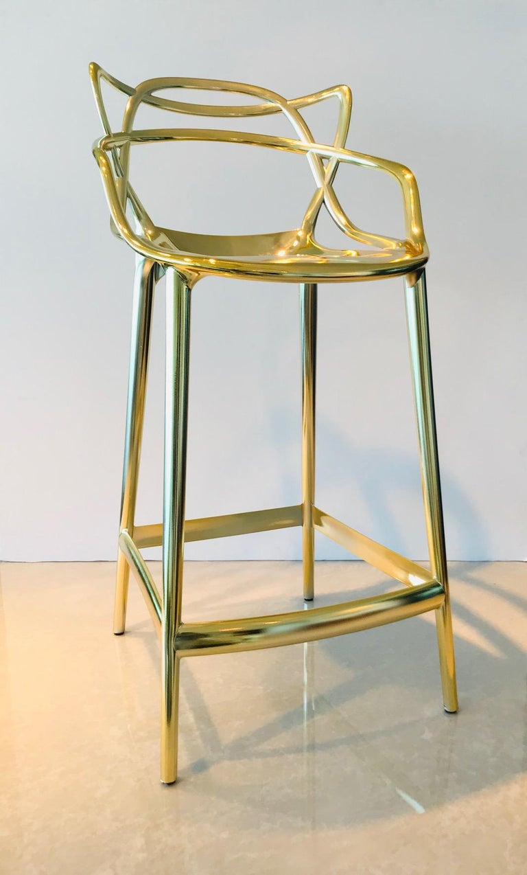 Masters Bar Stools In Metallic Gold by Kartell, Set of Three For Sale 1