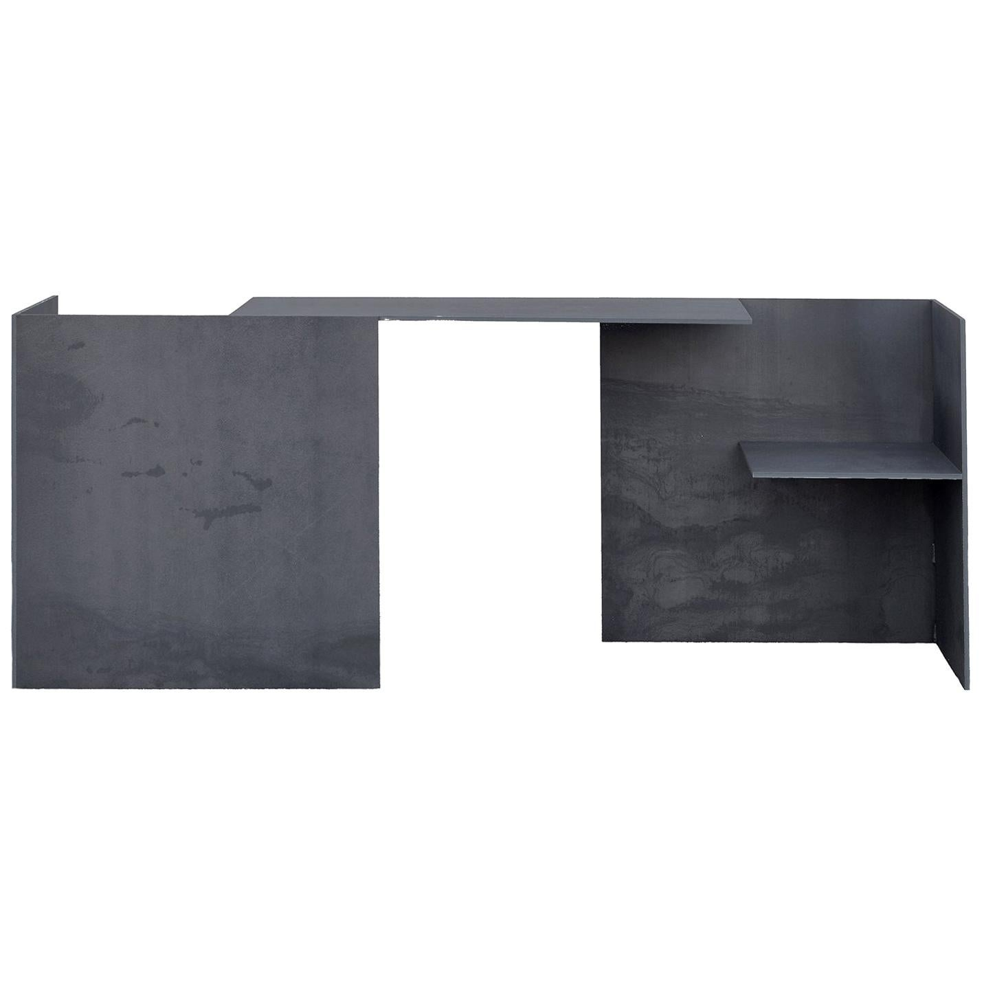 Mat Blue Steel Plate 21st Century Collectible Design MSB Two-Seater Double Desk