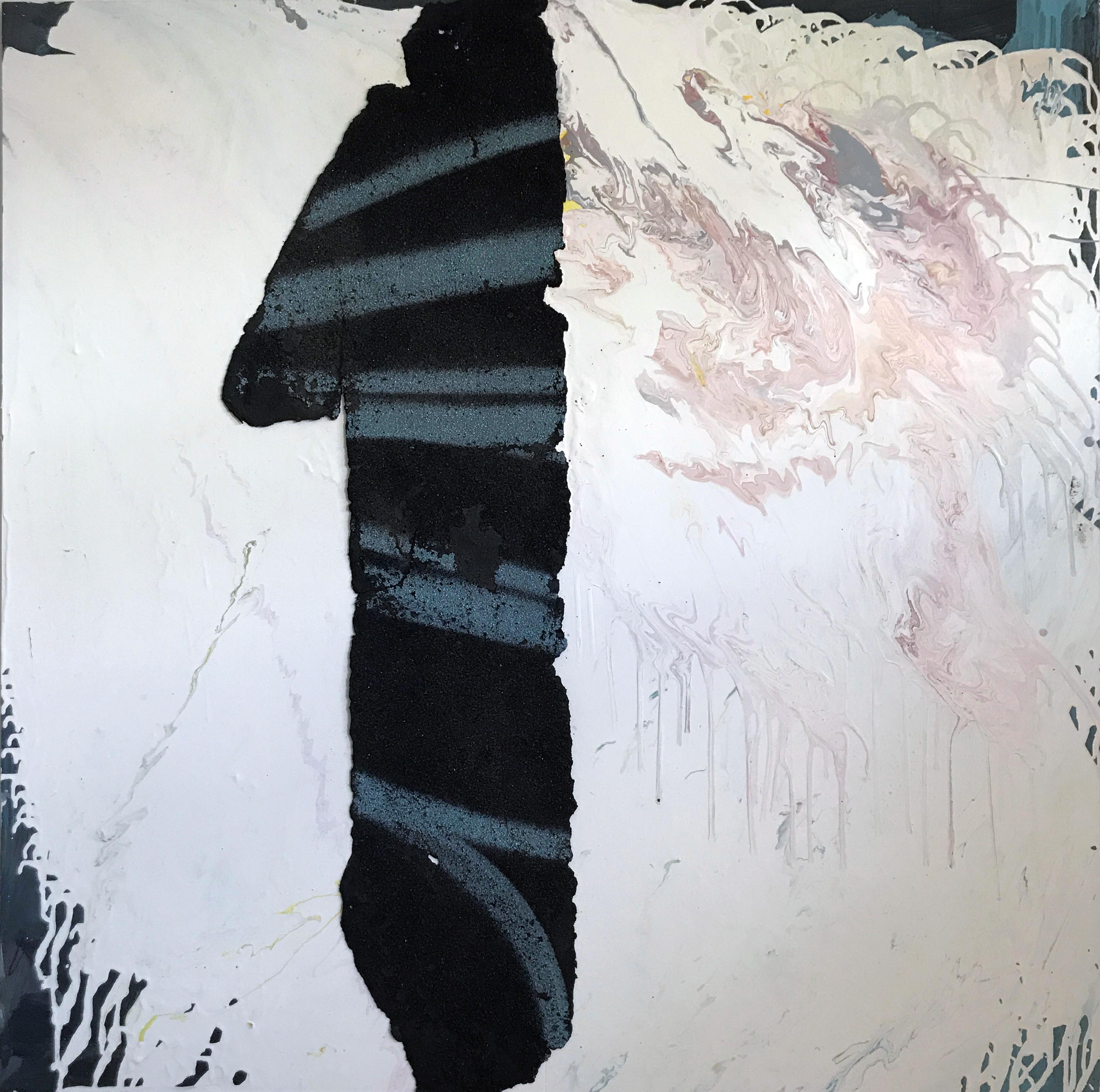 1 -- contemporary abstract mixed media painting w/ white, black asphalt, numbers