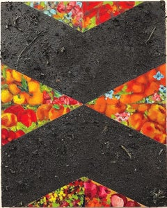 Ash: contemporary geometric abstract still-life painting w/ red flowers & fruit