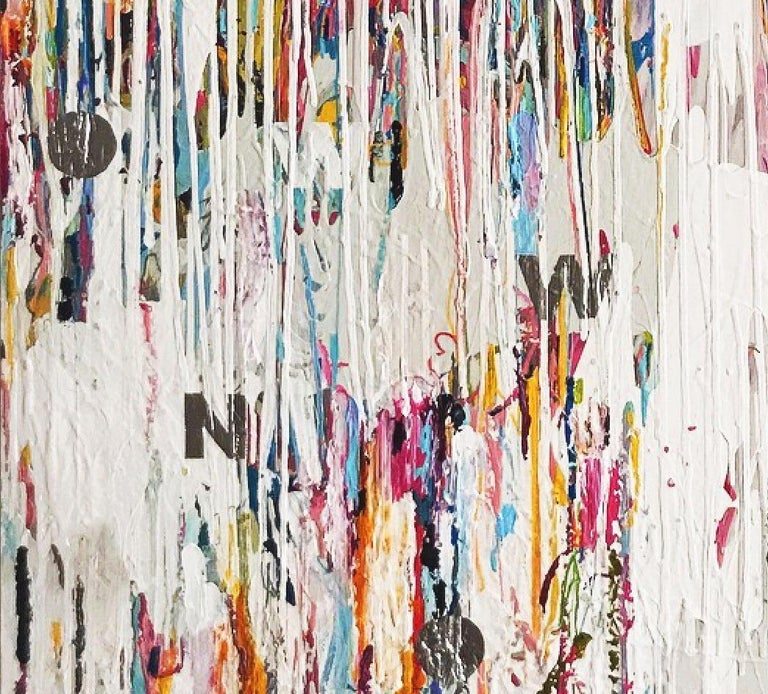 NOW - contemporary abstract mixed media painting with white, pink, blue & silver - Painting by Mat Tomezsko