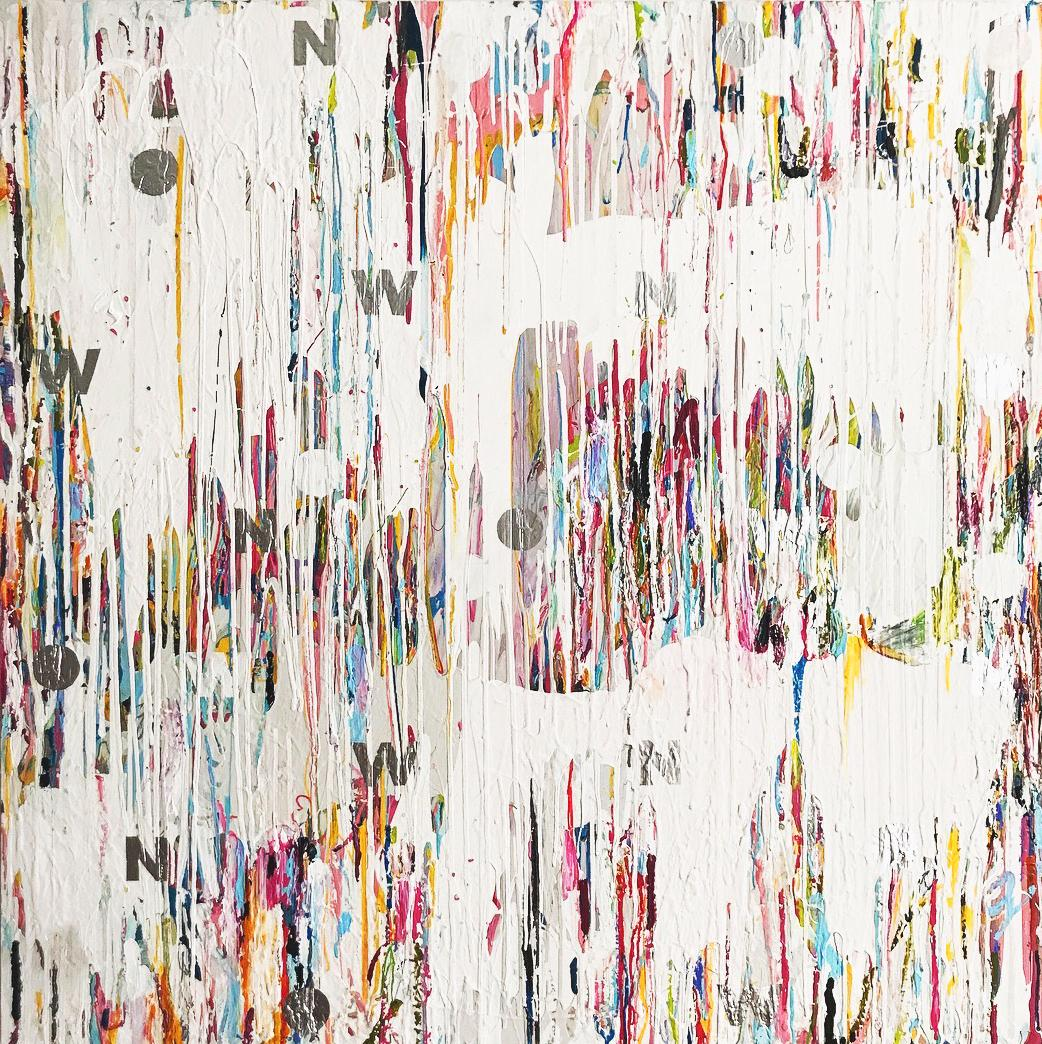 NOW - contemporary abstract mixed media painting with white, pink, blue & silver