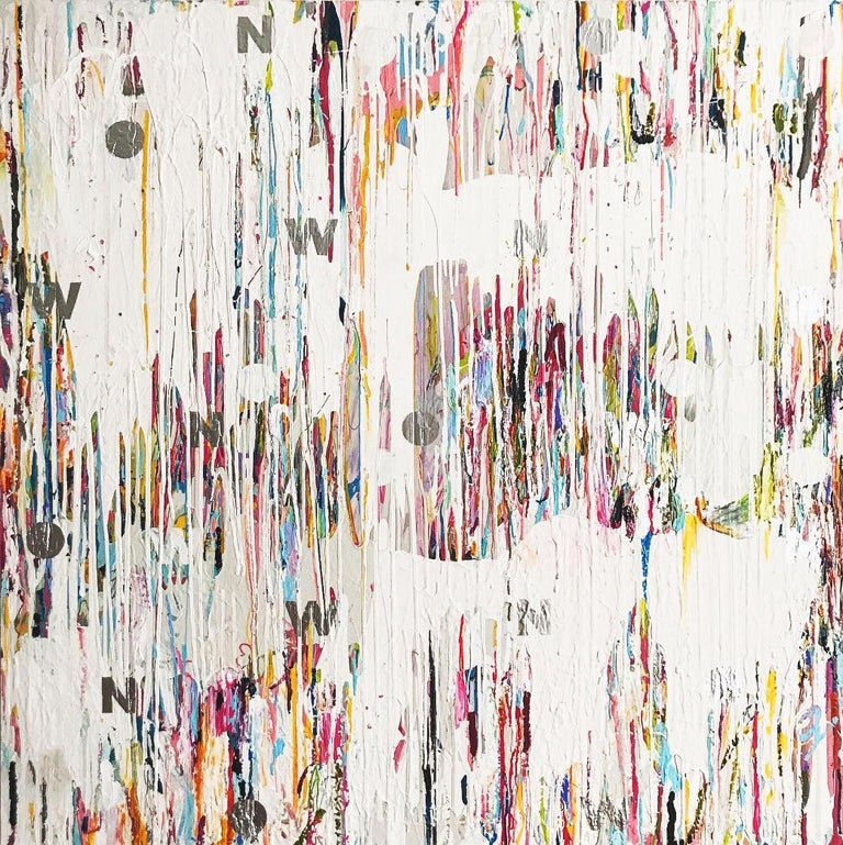 Mat Tomezsko Abstract Painting - NOW - contemporary abstract mixed media painting with white, pink, blue & silver