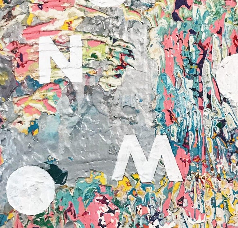 NOW III - contemporary abstract mixed media painting w/ text, letters, & words - Abstract Geometric Mixed Media Art by Mat Tomezsko