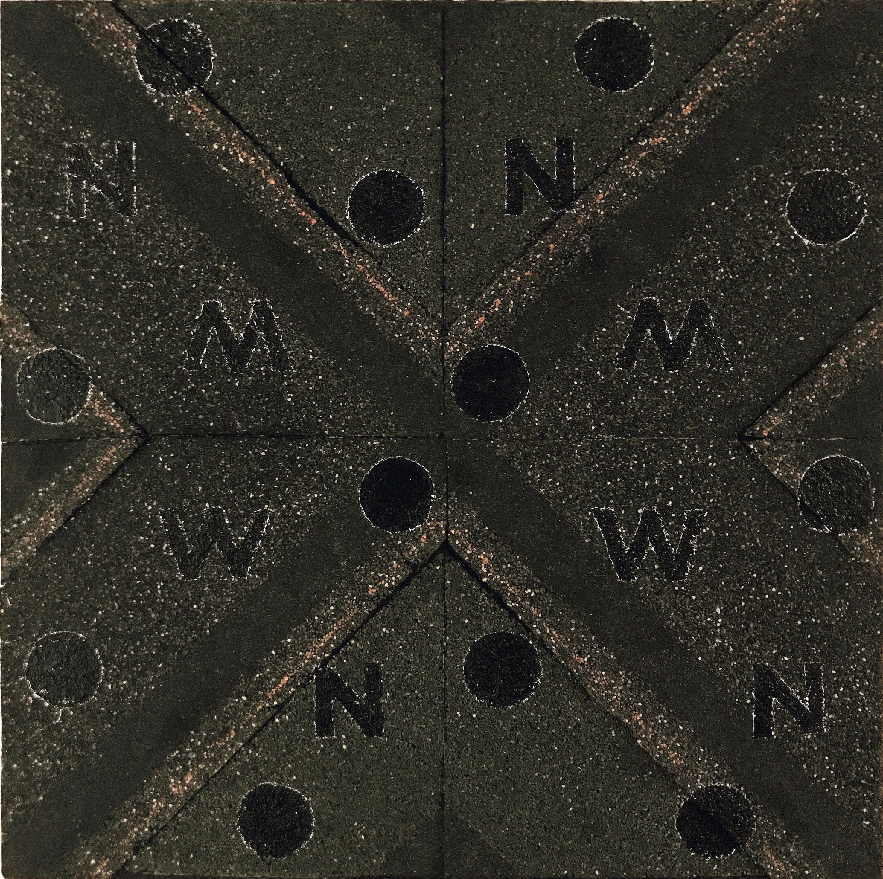NOW IV - contemporary abstract mixed media painting w/ black asphalt & text