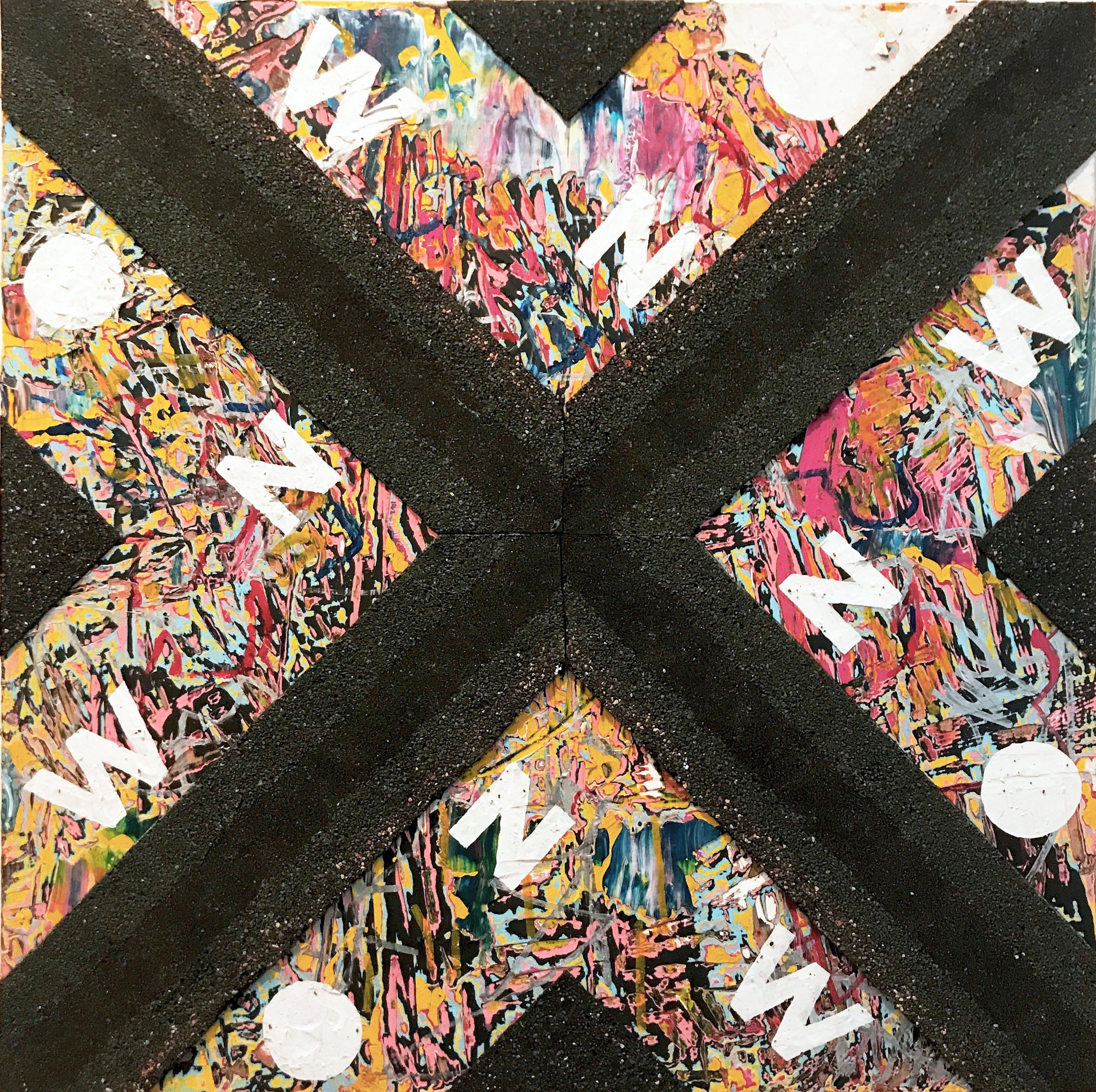 NOW VI - contemporary abstract mixed media painting; black asphalt, text, words