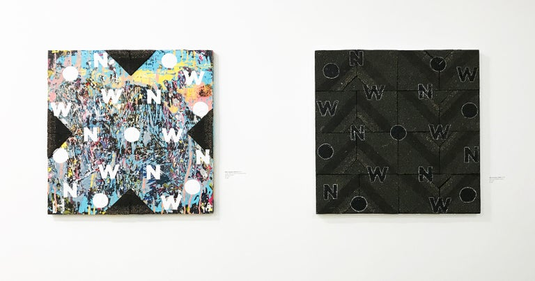 NOW VII - contemporary abstract mixed media painting; black asphalt, text, words - Abstract Geometric Painting by Mat Tomezsko