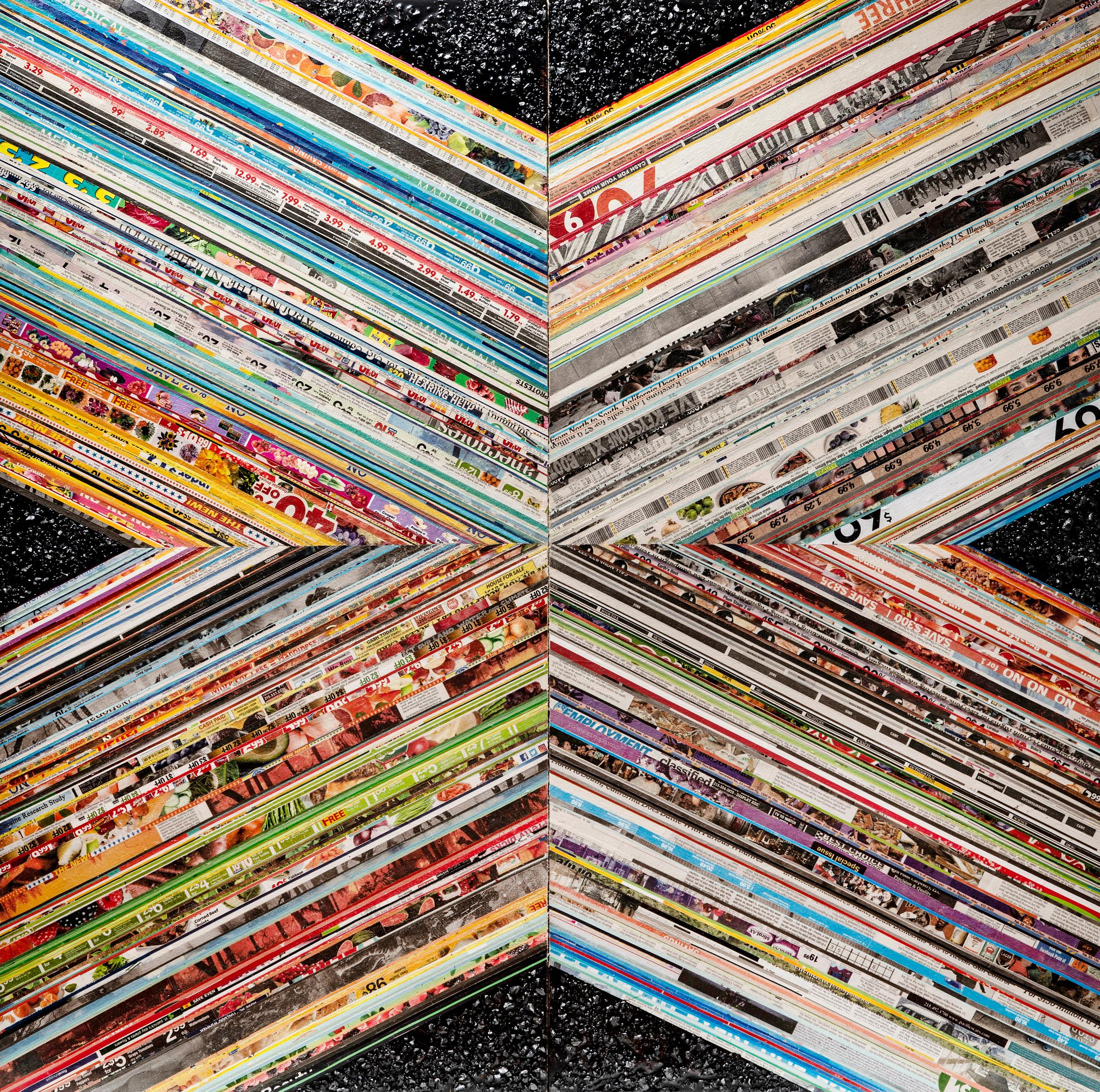 Price (X) -- contemporary geometric abstract mixed media painting & collage