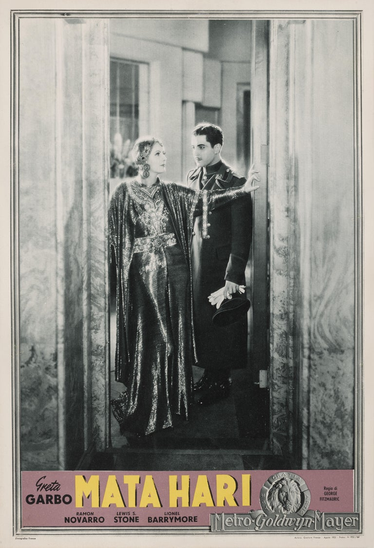 Original Italian film poster from the 1931 film that was broadly based on the life of Mata Hari, a Dutch exotic dancer and courtesan who was a German spy during World War I. Greta Garbo starred as the title role, alongside Ramon Novarro and Lionel