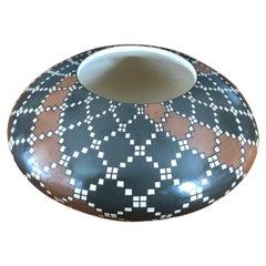 Mata Ortiz Geometric Pottery Vase by Juana Ledezma Vecoz