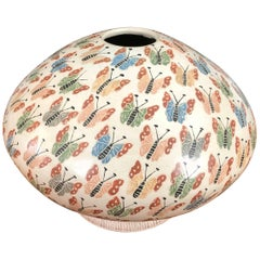 Mata Ortiz Pottery Butterflies Vase / Seed Jar by Celia Lopez