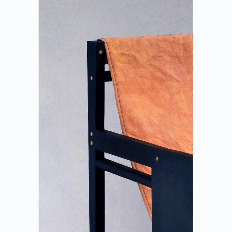 Matang Chair, a Dyed Wood and Cotton Armchair, by Matang and Natasha Sumant In New Condition For Sale In Paris, FR