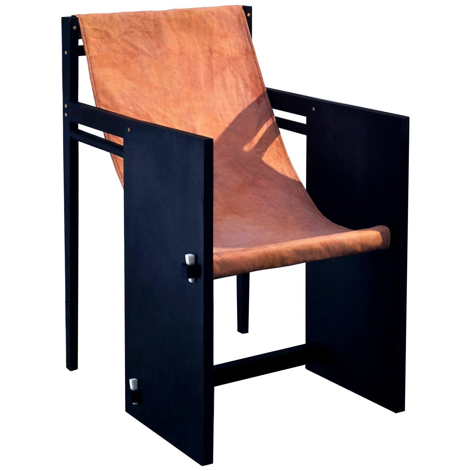 Matang Chair, a Dyed Wood and Cotton Armchair, by Matang and Natasha Sumant