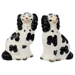 Matched Antique Black & White Staffordshire Pottery Spaniel Dog Figurines, Pair