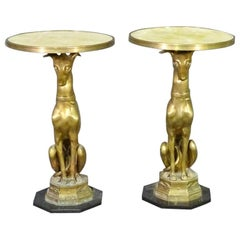 Matched Pair Brass and Alabaster French Greyhound Whippet Side Tables circa 1940