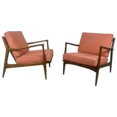Matched Pair of Classic Ib Kofod Larsen Danish Lounge Chairs
