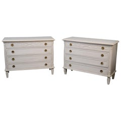 Matched Pair Custom-Made Gustavian Swedish Distressed Painted Commodes Dressers