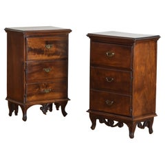 Matched Pair Italian, Venezia, Neoclassical Carved Walnut Commodes, ca. 1800
