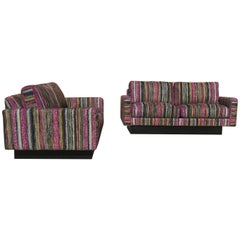 Matched Pair Milo Baughman for Selig Setee's.Missoni Fabric