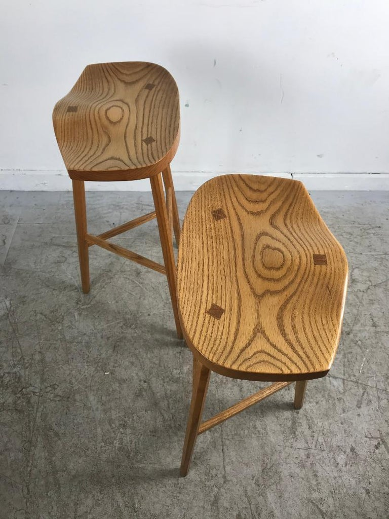 Matched Pair of Modernist Stools, Bench Made, Rochester Folk Art Guild For Sale 2
