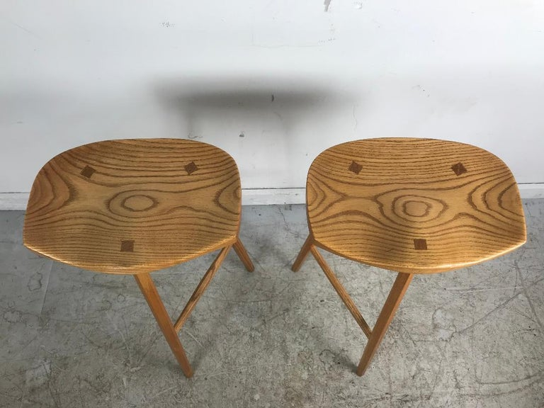 Mid-Century Modern Matched Pair of Modernist Stools, Bench Made, Rochester Folk Art Guild For Sale