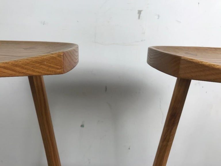 Hand-Crafted Matched Pair of Modernist Stools, Bench Made, Rochester Folk Art Guild For Sale