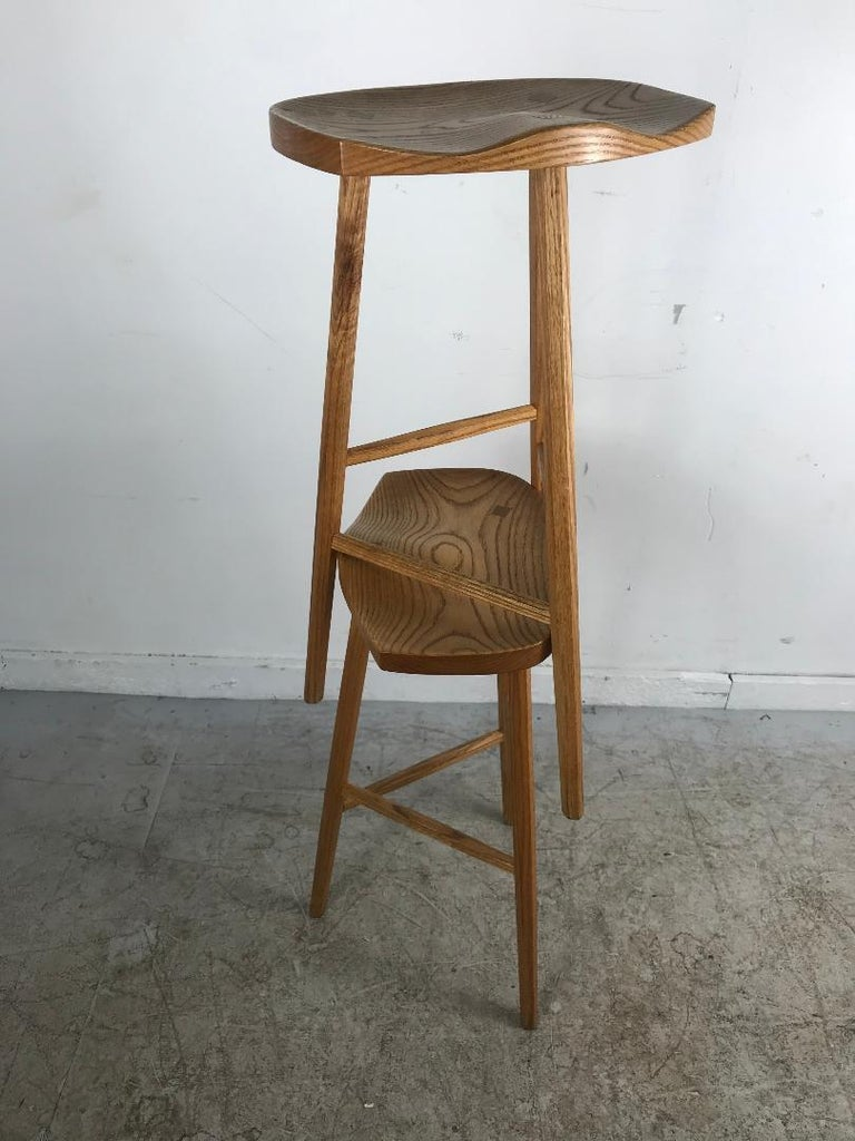 Matched Pair of Modernist Stools, Bench Made, Rochester Folk Art Guild For Sale 1
