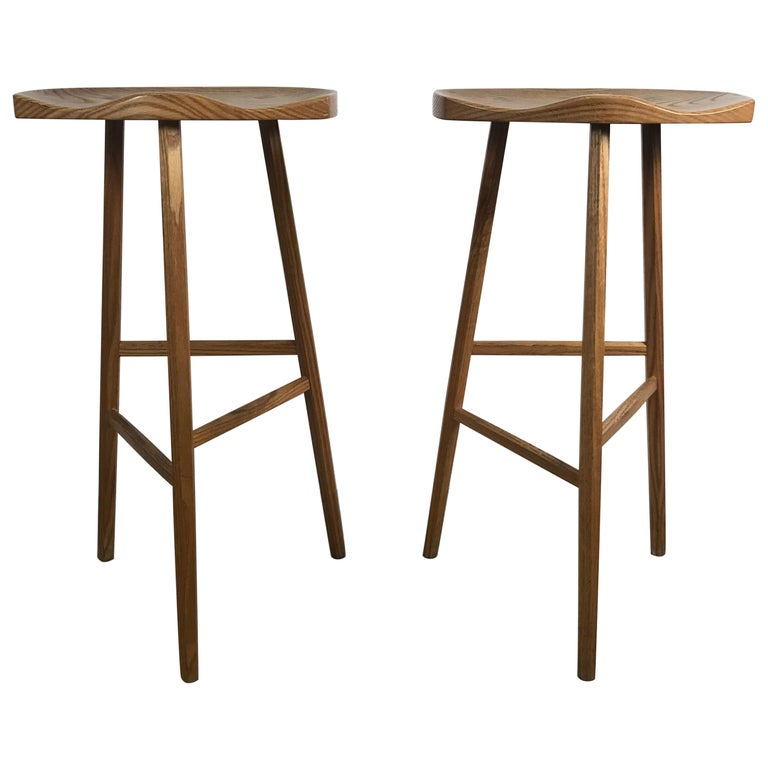 Matched Pair of Modernist Stools, Bench Made, Rochester Folk Art Guild For Sale
