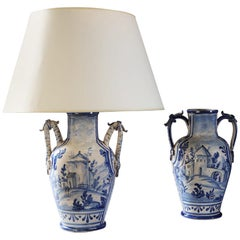 Matched Pair of 19th Century Blue and White Italian Vases as Table Lamps