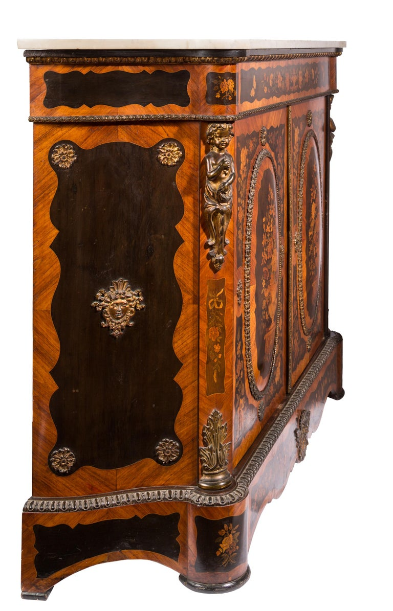 Matched Pair of 19th Century Louis XVI Style Floral Marquetry Side Cabinets For Sale 4