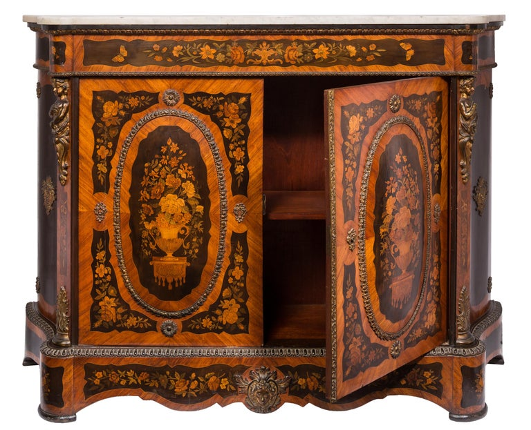 French Matched Pair of 19th Century Louis XVI Style Floral Marquetry Side Cabinets For Sale
