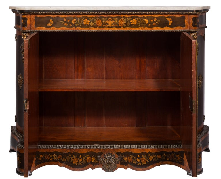Gilt Matched Pair of 19th Century Louis XVI Style Floral Marquetry Side Cabinets For Sale