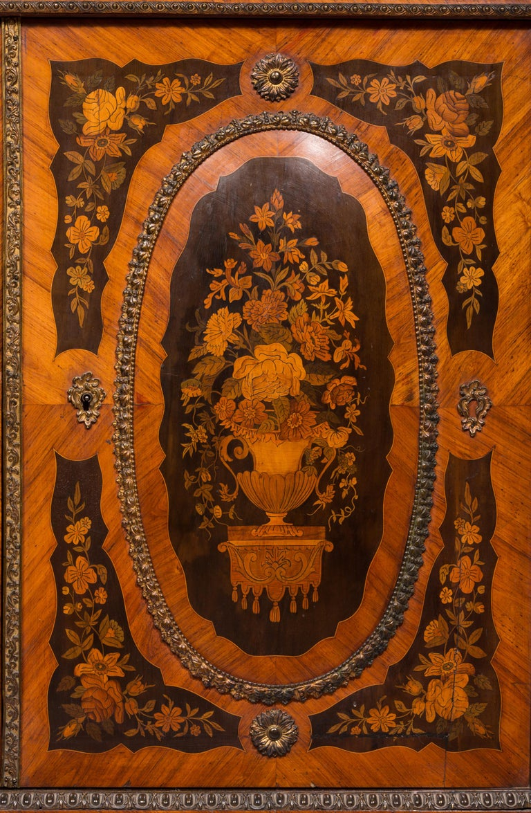 Matched Pair of 19th Century Louis XVI Style Floral Marquetry Side Cabinets In Good Condition For Sale In Madrid, ES
